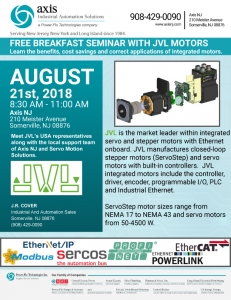 FREE BREAKFAST SEMINAR WITH JVL MOTORS Learn the benefits, cost savings and correct applications of integrated motors.